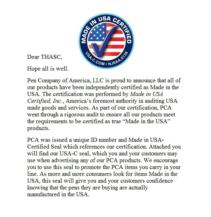 PCA Letter - Certified Made In USA